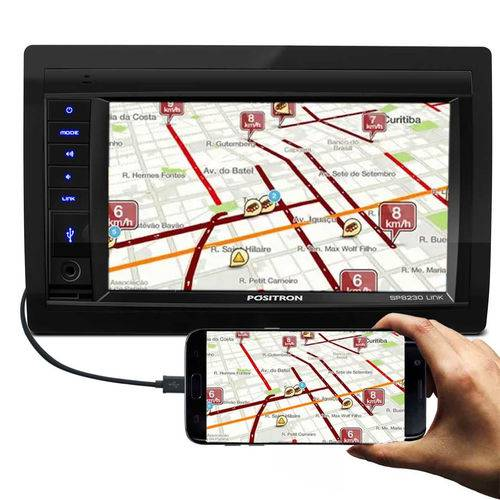 """Central Multimídia Pósitron Sp8230 Link 2 Din 6.2"""" Lcd Bluetooth Touch Screen Usb Sd Mp3 Am Fm"""