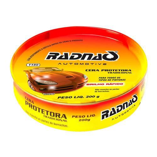 Cera de Polimento Protetora em Pasta Radnaq 200g Aplicado em Todo Tipo de Pintura Automotiva
