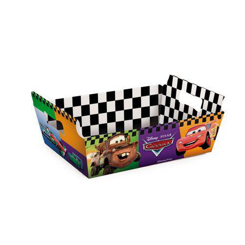 Mini Cesta Caixote Organizadora Papel Carros Disney C/10