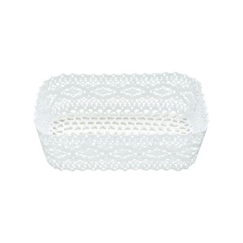 Cesta de Crochê Branco Delicate 21x14x6,5cm