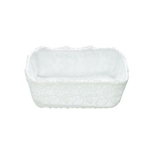 Cesta de Crochê com Forro Branco Delicate 22x15x9cm