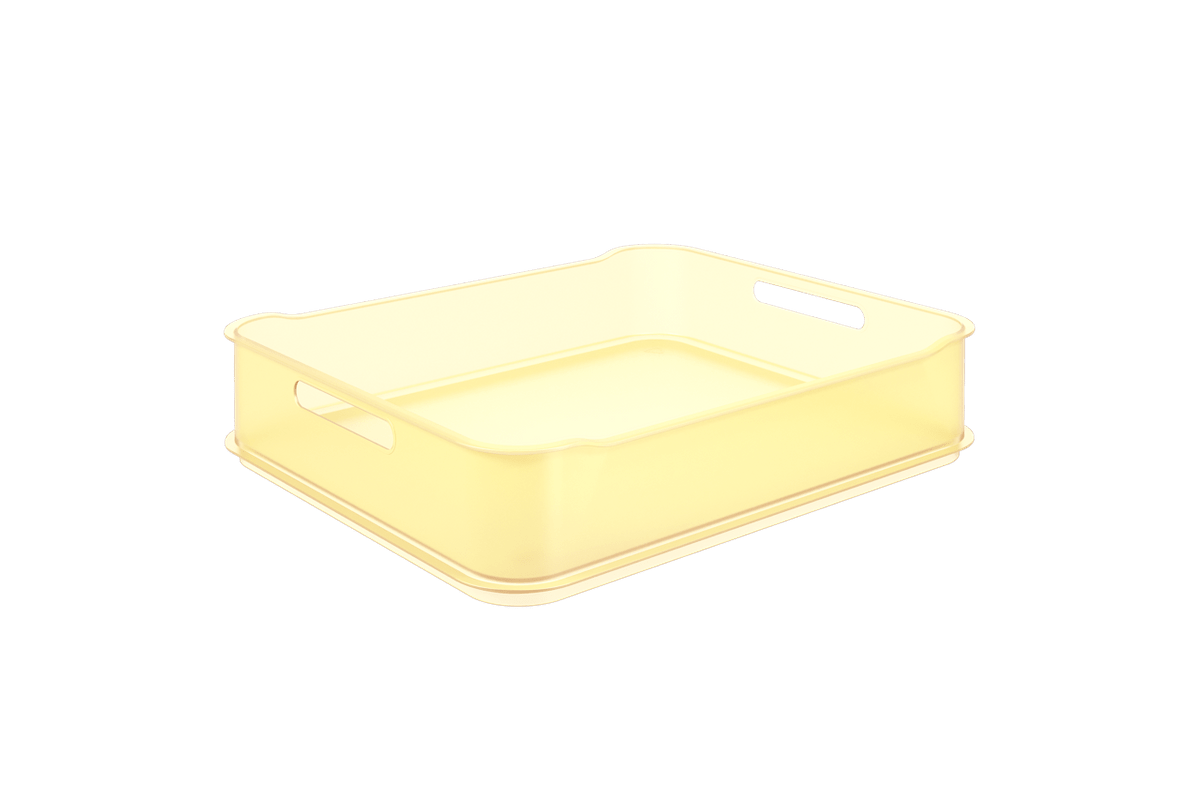 Cesta Fit Maxi - AME 38 X 31,6 X 8 Cm Amarelo Elétrico Translúcido Coza