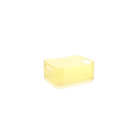 Cesta Fit Pequena - AME 18,5 X 15 X 8 Cm Amarelo Elétrico Translúcido Coza