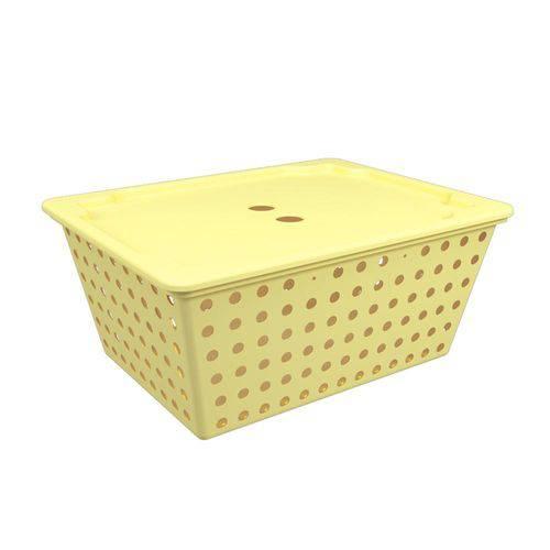 Cesta Maxi com Tampa 39 X 30 X 16,8 Cm Amarelo Soft - Coza