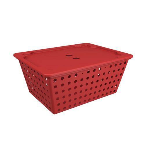 Cesta Maxi com Tampa 39 X 30 X 16,8 Cm Vermelho Bold - Coza