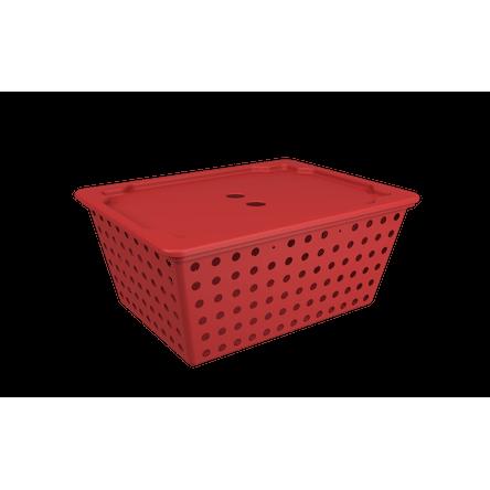 Cesta One Maxi com Tampa - VBO 39 X 30 X 16,8 Cm Vermelho Bold Coza