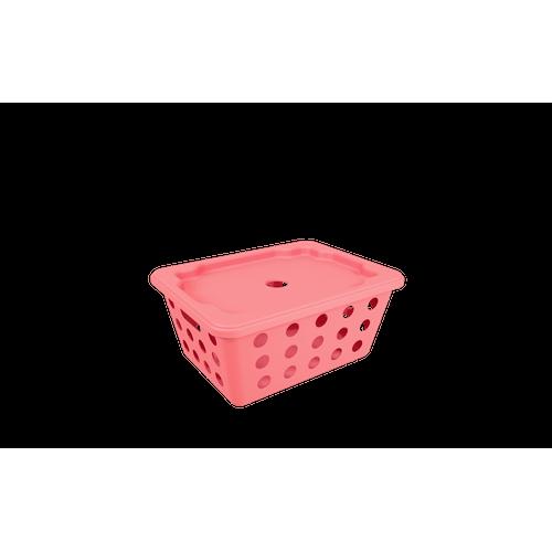 Cesta One Pequena com Tampa - RSE 18,6 X 14,2 X 8,6 Cm Rosa Elétrico Coza