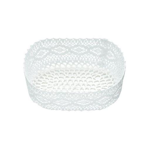 Cesta Organizadora de Plástico Branca Crochê 7103 Lyor
