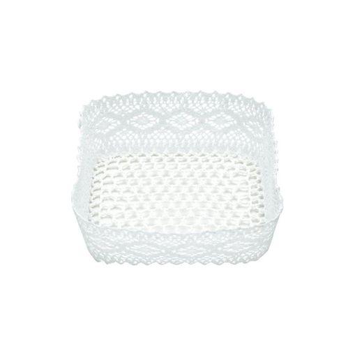 Cesta Organizadora de Plástico Branca Crochê 7102 Lyor