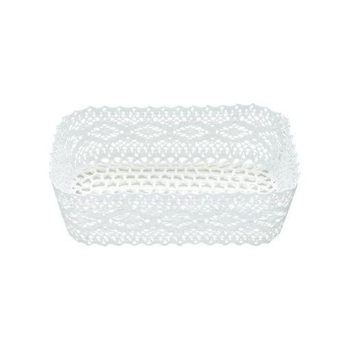 Cesta Organizadora de Plástico Branca Crochê 7104 Lyor