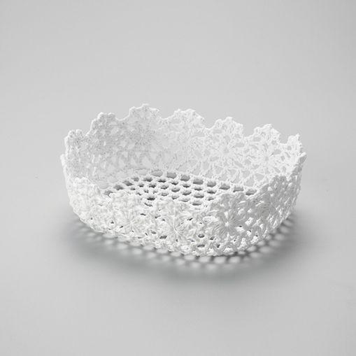 Cesta Oval de Plástico Branca Crochê 6346 Lyor