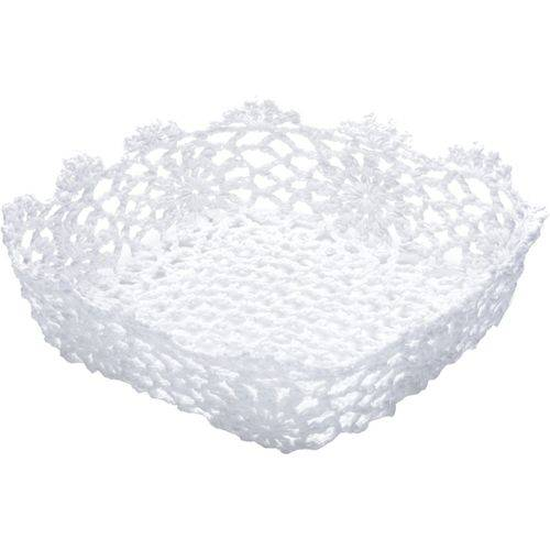Cesta Quadrada de Plástico Branca Crochê Alta II 6344 Lyor