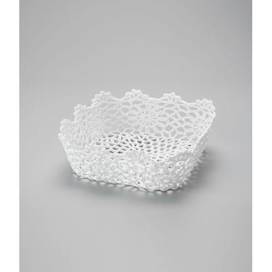 Cesta Quadrada em Forma de Croche Impermeável de Plástico Branco 22X8 Cm