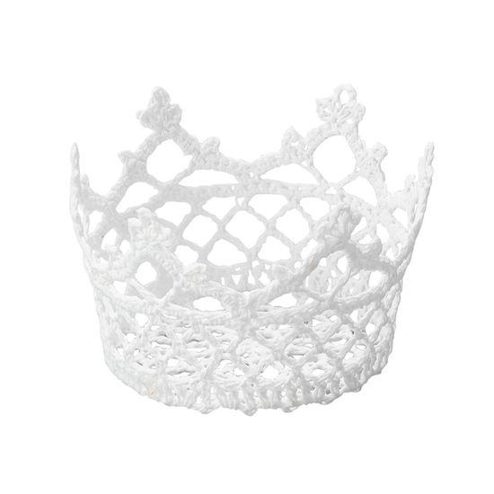 Cesta Redonda em Forma de Croche Impermeável de Plástico Branco 10X6 Cm