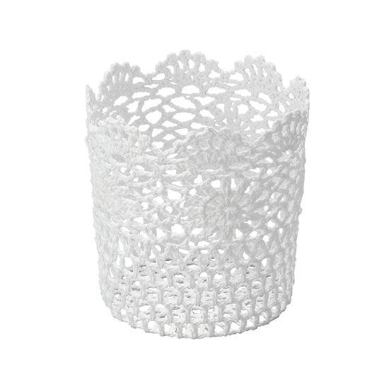 Cesta Redonda em Forma de Croche Impermeável de Plástico Branco 17X18 Cm