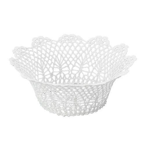 Cesta Redonda em Forma de Croche Impermeável de Plástico Branco 24x9 Cm