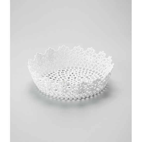 Cesta Redonda em Forma de Croche Impermeável de Plástico Branco 23X6 Cm