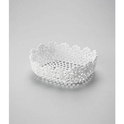 Cesta Retangular em Forma de Croche Impermeavel de Plastico Branca 25x16x6cm