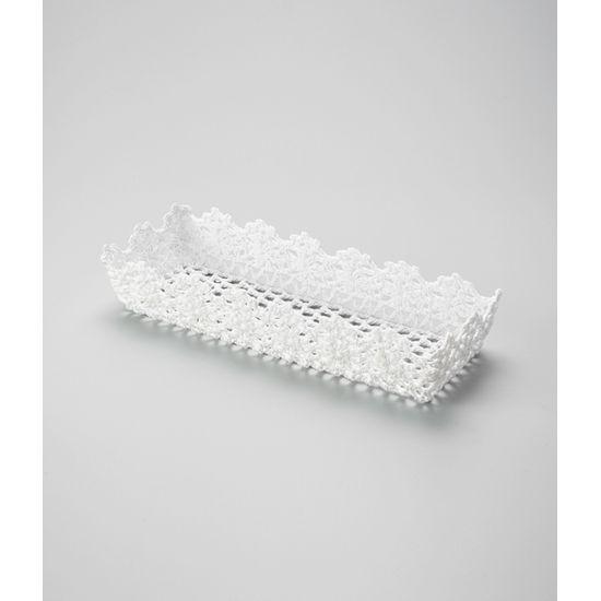 Cesta Retângular em Forma de Croche Impermeável de Plástico Branco 30X12X6 Cm