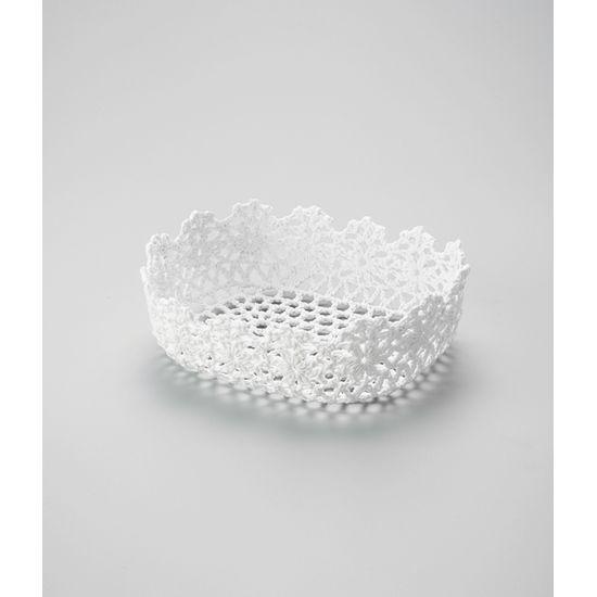 Cesta Retângular em Forma de Croche Impermeável de Plástico Branco 25X16X6 Cm