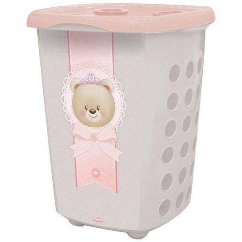 Cesto para Roupas Infantil Urso Rosa 38 Litros R.8207 Plasutil