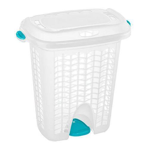 Cesto Plástico 44l Hydrus P/roupas C/tampa Cristal Sanremo
