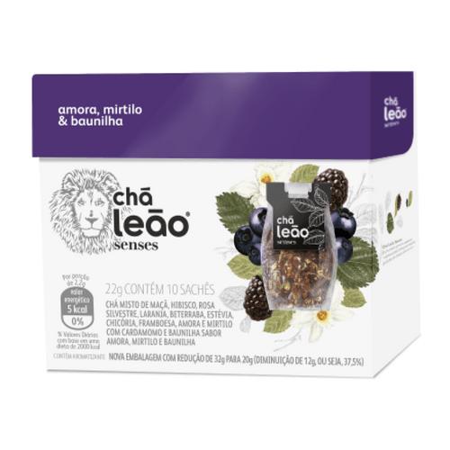Chá Leão Senses Amora, Mirtilo e Baunilha 10 Sachês