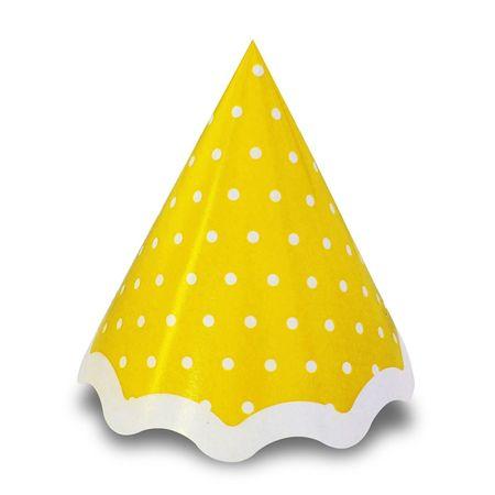 Chapéu Amarelo Poá Branco - 10 Unidades