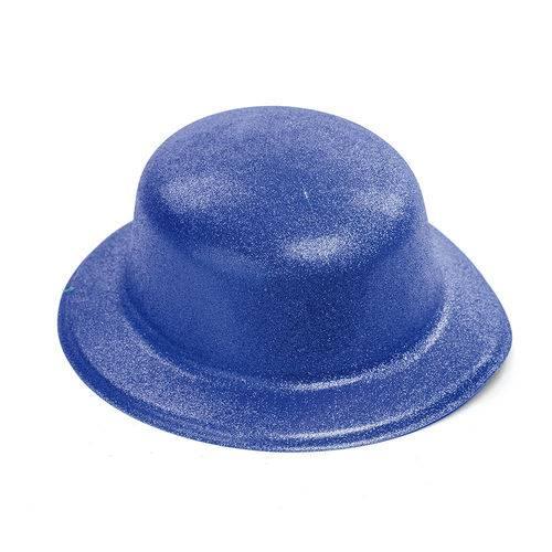 Chapéu Carnaval Malandro Acessório Fantasia Brilho Azul