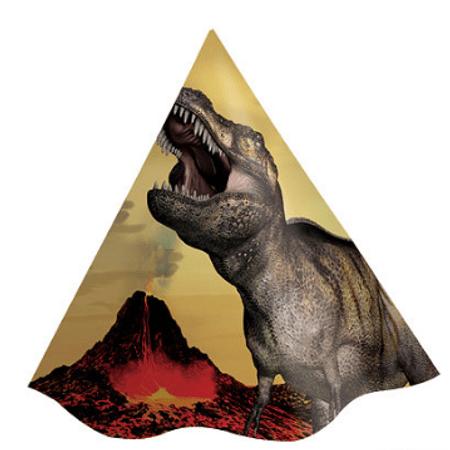 Chapéu de Aniversário Dinossauros - 08 Unidades