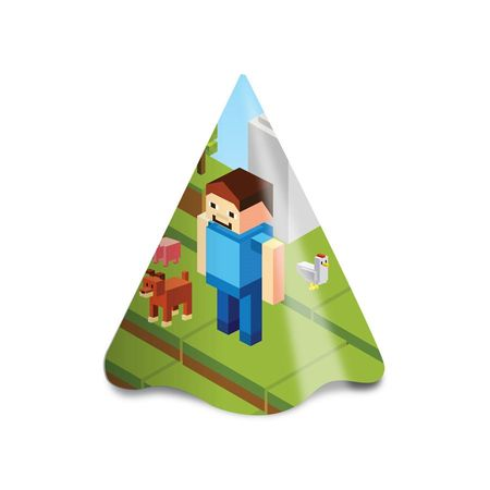 Chapéu de Aniversário Minecraft - 08 Unidades