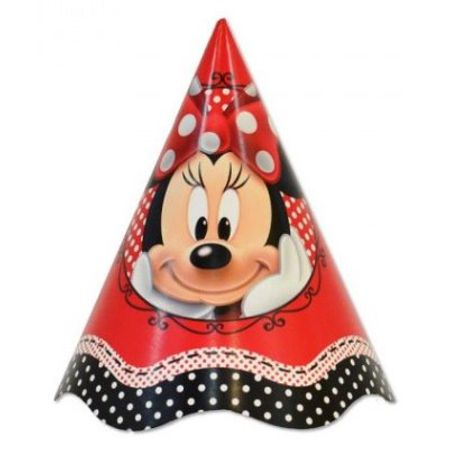 Chapéu de Aniversário Minnie Vermelha - 08 Unidades