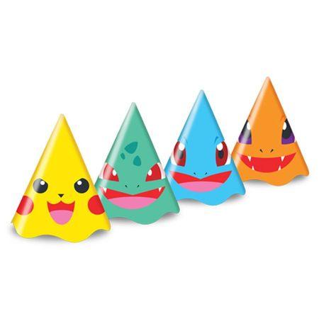 Chapéu de Aniversário Pokemon Chapéu Aniversário Pokemon - 08 Unidades