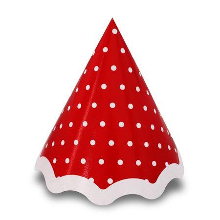Chapéu Vermelho Poá Branco - 10 Unidades