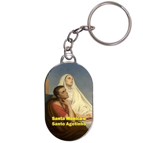 Chaveiro Chapinha - Santa Mônica e Santo Agostinho   SJO Artigos Religiosos