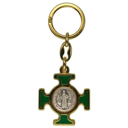 Chaveiro Italiano Dourado Cruz Malta de São Bento   SJO Artigos Religiosos