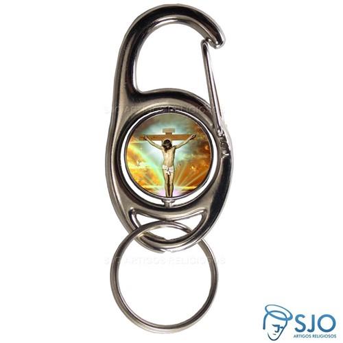 Chaveiro Mosquetão Giratório Jesus Crucificado | SJO Artigos Religiosos