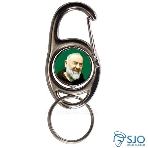 Chaveiro Mosquetão Giratório Padre Pio | SJO Artigos Religiosos