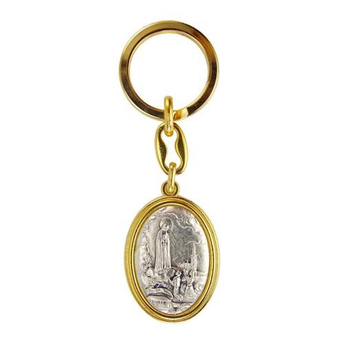 Chaveiro Nossa Senhora de Fátima Italiano Dourado | SJO Artigos Religiosos