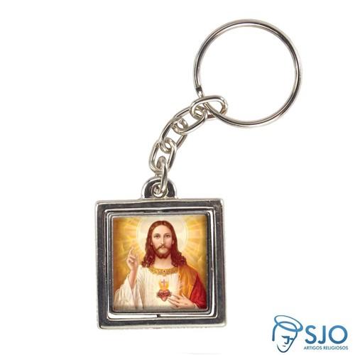 Chaveiro Quadrado Giratório da Sagrado Coração de Jesus - Modelo 2 | SJO Artigos Religiosos