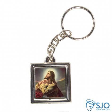 Chaveiro Quadrado Giratório de Jesus Orando | SJO Artigos Religiosos