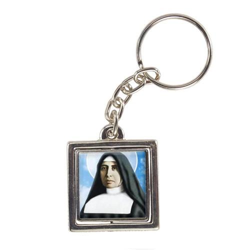 Chaveiro Quadrado Giratório de Madre Paulina   SJO Artigos Religiosos