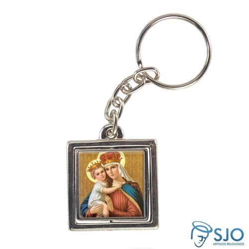 Chaveiro Quadrado Giratório de Nossa Senhora Auxiliadora | SJO Artigos Religiosos