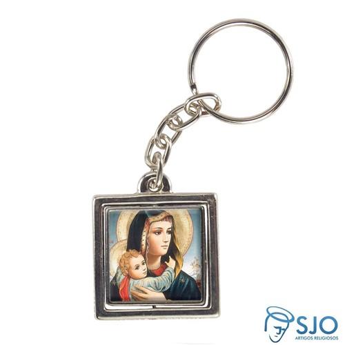 Chaveiro Quadrado Giratório de Nossa Senhora da Abadia | SJO Artigos Religiosos