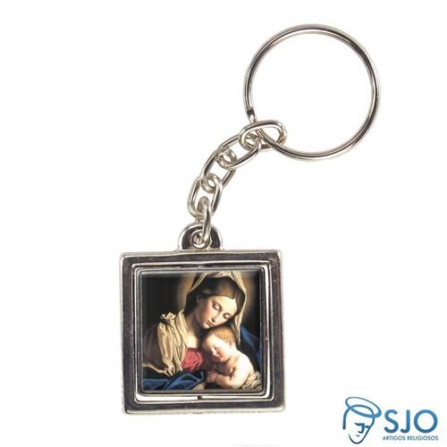 Chaveiro Quadrado Giratório de Nossa Senhora da Divina Providência | SJO Artigos Religiosos