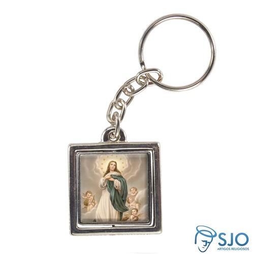 Chaveiro Quadrado Giratório de Nossa Senhora da Imaculada Conceição | SJO Artigos Religiosos