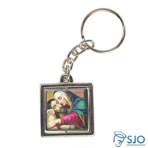 Chaveiro Quadrado Giratório de Nossa Senhora da Piedade - Modelo 2   SJO Artigos Religiosos