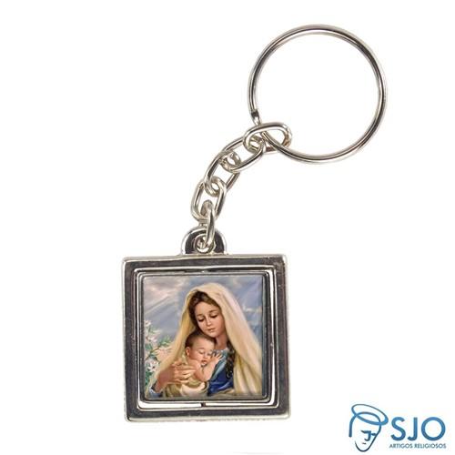 Chaveiro Quadrado Giratório de Nossa Senhora do Amparo   SJO Artigos Religiosos
