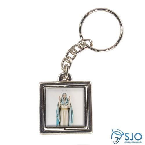Chaveiro Quadrado Giratório de Nossa Senhora do Equilíbrio | SJO Artigos Religiosos