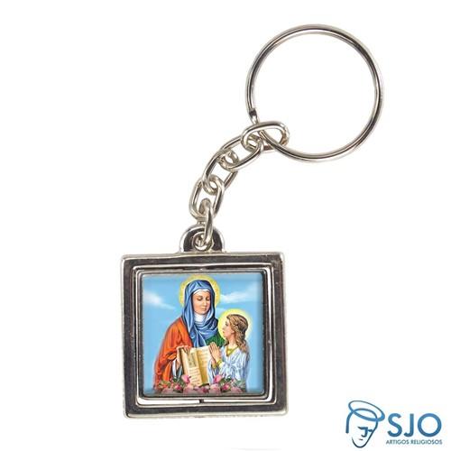Chaveiro Quadrado Giratório de Nossa Senhora Santana | SJO Artigos Religiosos